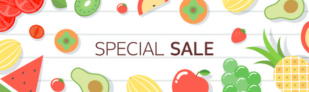 Horizontal shopping banners with fruit Vector illustration.