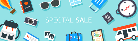Horizontal shopping banners with Travel illustration.