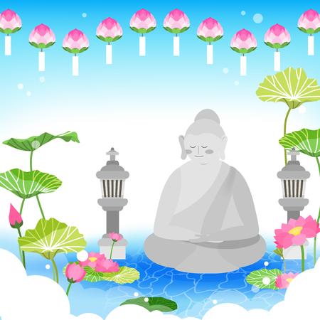 Buddha and lotus design Vector illustration. Çizim