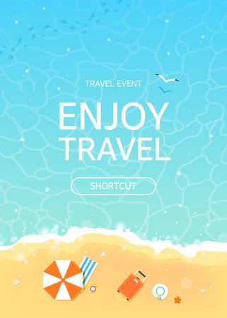 Tijd om te reizen en zomervakantie illustratie in strand