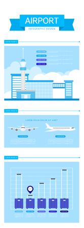 Airport Info Graphic Flat Design Иллюстрация