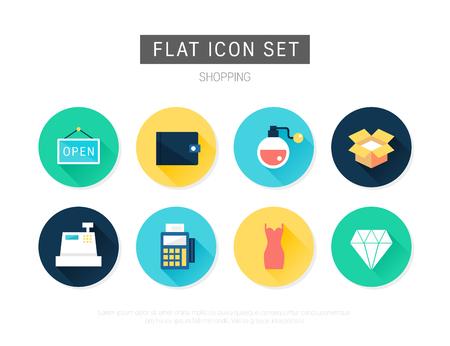 Shopping flat vector icon set