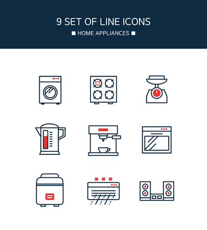 Red Point appliances line icon set template