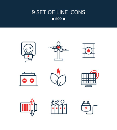 Red Point eco Line Icon Set template