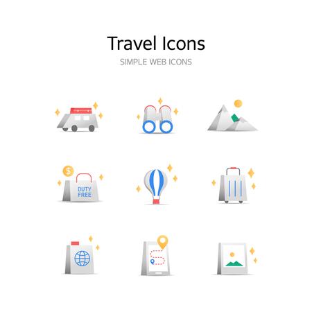Various Travel stereoscopic icons Иллюстрация