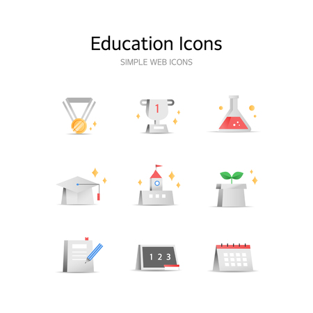 Various Education stereoscopic icons