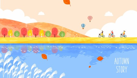 Autumn travel illustration 矢量图像
