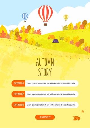 Autumn travel illustration Vettoriali
