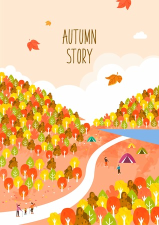 Autumn travel illustration Çizim