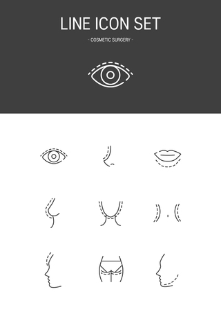 Cosmetic surgery Line icon Illustration