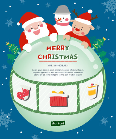 Merry Christmas events. Happy New Year holidays! Vector events poster with Santa, Rudolph, Snowman, tree, gift box, socks, candle
