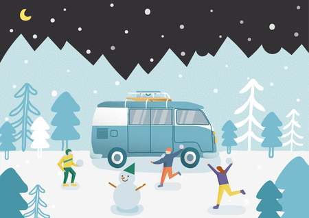 Friends playing snowball fight and having fun in winter. And they made a snowman. Ilustração