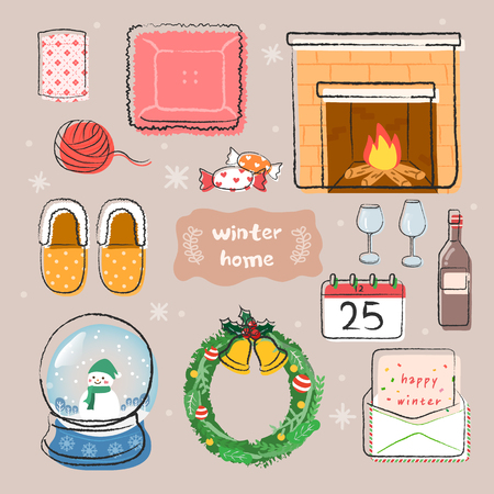 Winter home icons set. Vector laters with Fireplace, cushion, lease, snowball