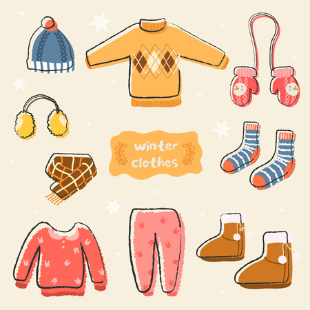 Set of warm winter clothes design. Knit and winter fashion, winter hat, winter pajamas, earmuffs and socks, muffler and glove and boot, outerwear seasonal illustration