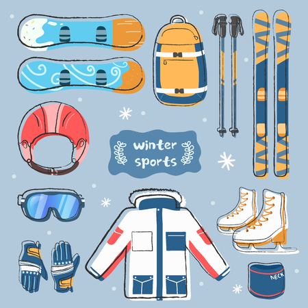 Winter sports icons set. snowboard, helmet, backpack, ski