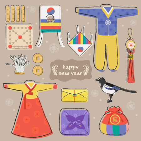 Happy New Year holidays icons set. Vector layers with Hanbok, Bags, Earthenware, Kite, Traditional