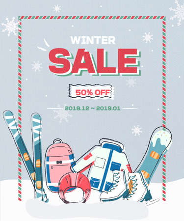 Winter sale poster design template or Background. Creative business promotional vector. Snowy winter season. Happy New Year. Ilustracja