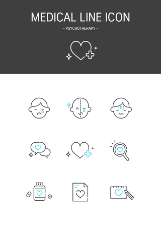 Medical elements outline icons set. Psychotherapy