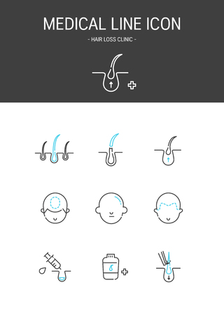 Medical elements outline icons set. Hair loss clinic