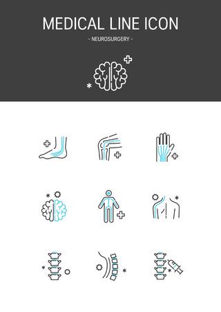 Medical elements outline icons set. Neurosurgery