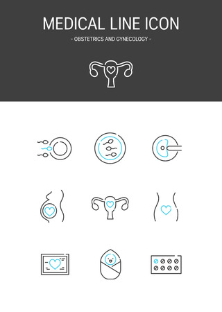 Medical elements outline icons set. Obstetrics and gynecology 일러스트