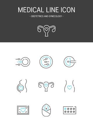 Medical elements outline icons set. Obstetrics and gynecology Illustration