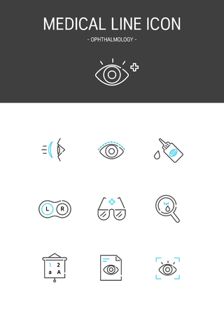 Medical elements outline icons set. Ophthalmology Illustration