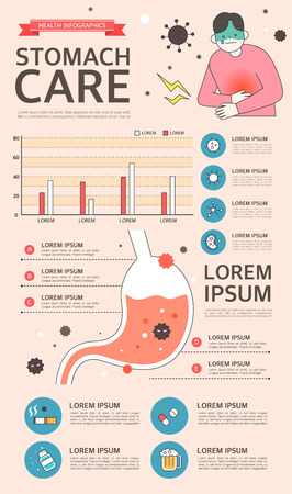 Stomach care Infographic with charts and other elements.