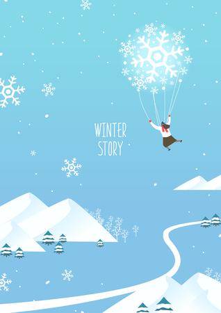 Winter travel illustration