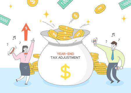 Ilustración de ajuste de impuestos de fin de año Ilustración de vector