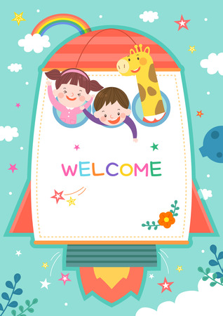 llustration of cartoon kindergarten. Cute frame with kids, child and frame Ilustracja