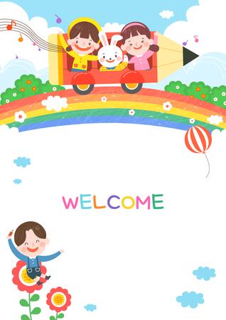 llustration of cartoon kindergarten. Cute frame with kids, child and frame Vector Illustration