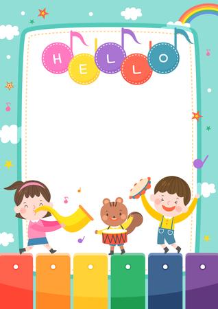 llustration of cartoon kindergarten. Cute frame with kids, child and frame Illustration
