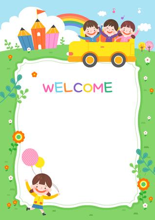Ilustración de jardín de infantes de dibujos animados. Lindo marco con niños, niño y marco. Ilustración de vector