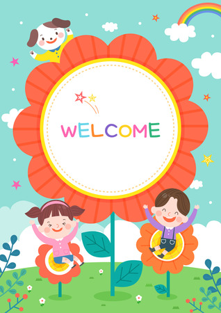 Illustration des Cartoon-Kindergartens. Netter Rahmen mit Kindern, Kind und Rahmen