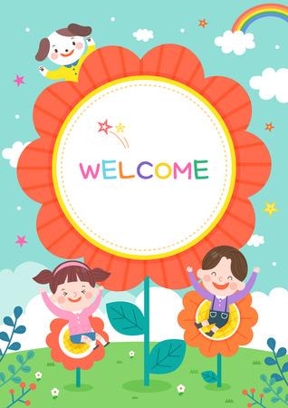 llustrazione della scuola materna dei cartoni animati. Cornice carina con bambini, bambino e cornice