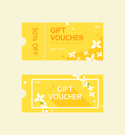 Set of colorful spring gift vouchers