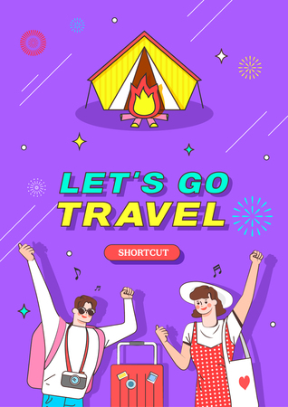 Travel illustration. Trendy Colorful retro comic style.