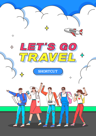 Travel illustration. Trendy Colorful retro comic style.