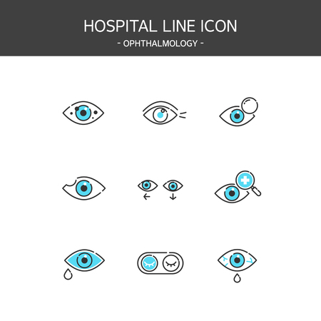 Medical elements outline icons set. Ophthalmology Ilustrace