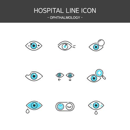 Medical elements outline icons set. Ophthalmology 일러스트