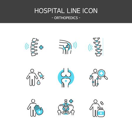 Medical elements outline icons set. Orthopedics