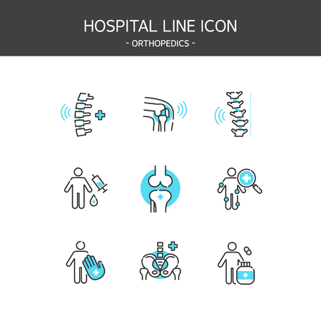Medical elements outline icons set. Orthopedics