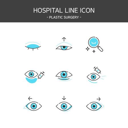Medical elements outline icons set. Plastic surgery Stock Illustratie