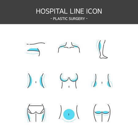Medical elements outline icons set. Plastic surgery Ilustração