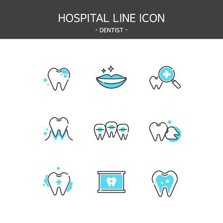 Medical elements outline icons set. Dentist Stock Illustratie