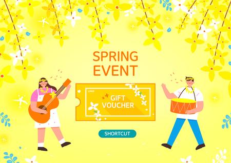 Spring shopping illustration. Forsythia Illustration