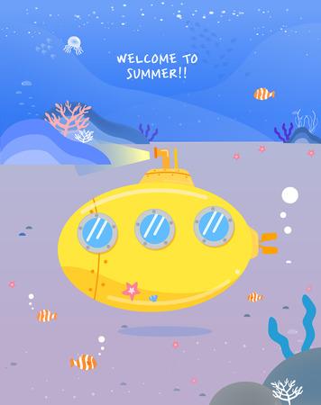 Happy summer travel illustration