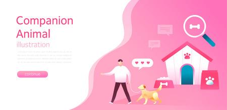 Companion animal concept illustrations. Modern flat style