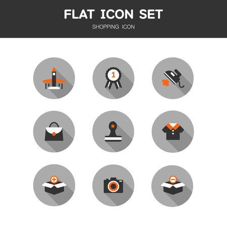 Shopping flat Icon Set 일러스트